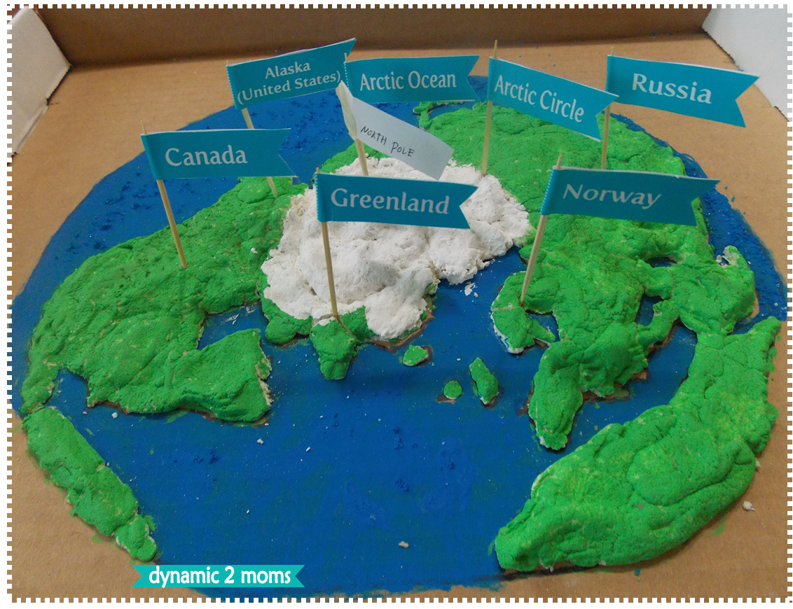 Arctic Region Salt Dough Map + Free Map Flag Printable on salt dough project california regions map, 3d landform project map, create your own island project map,