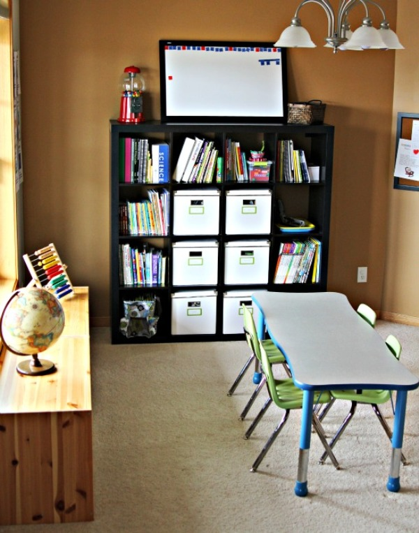 Homeschool organization storage spaces learning places - How to organize your desk at home for school ...