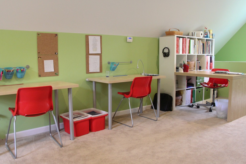 Homeschool organization storage spaces and learning for Homeschool dining room ideas