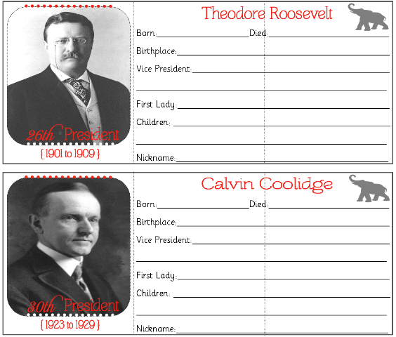 Free fbi homeschool lapbook and hands on history for Presidents and their home states