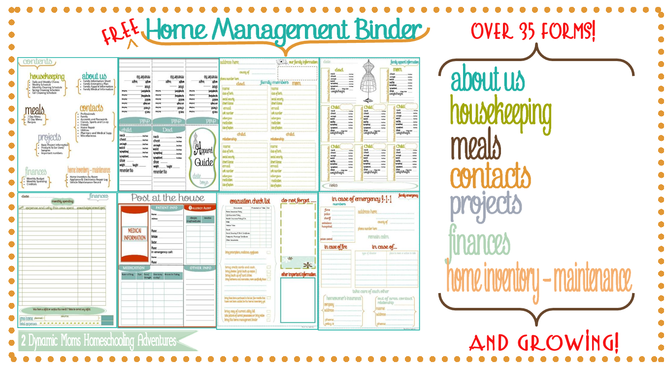 Free Printables For Home Website header home management ...